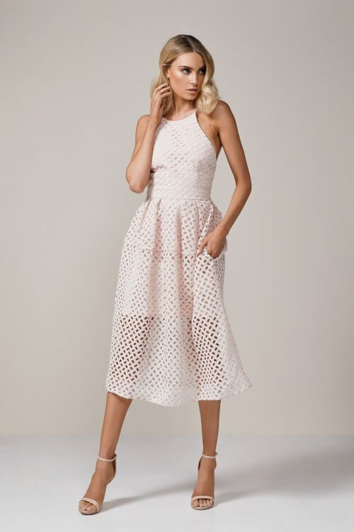 Nicholas Lattice Dress Backless, Knee Length, Midi Pink