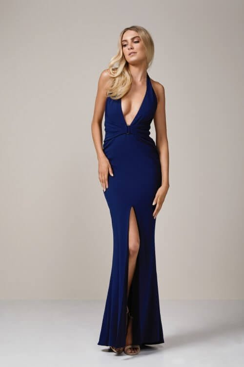 Nookie Mariah Halter Gown Floor Length, V-Neck Navy