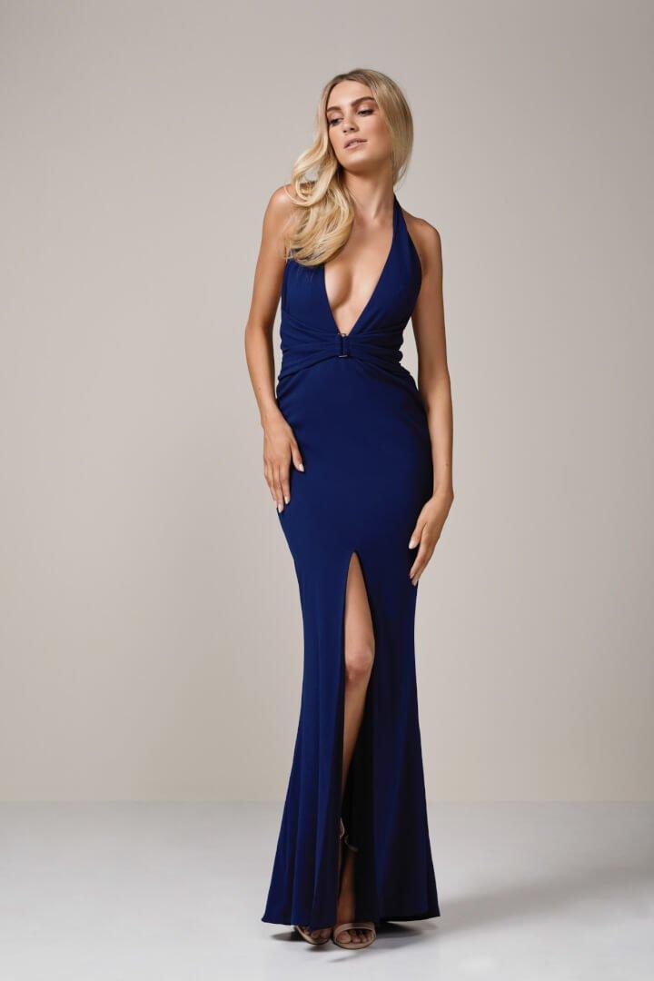 Nookie Mariah Halter Gown Floor Length, V-Neck Navy