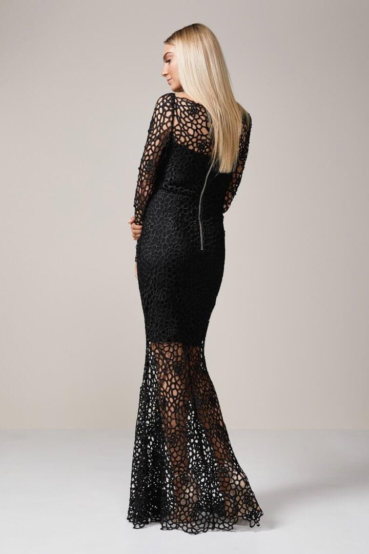 Grace Heart Scandal Long Sleeve Lace Gown Black Ons Boutique
