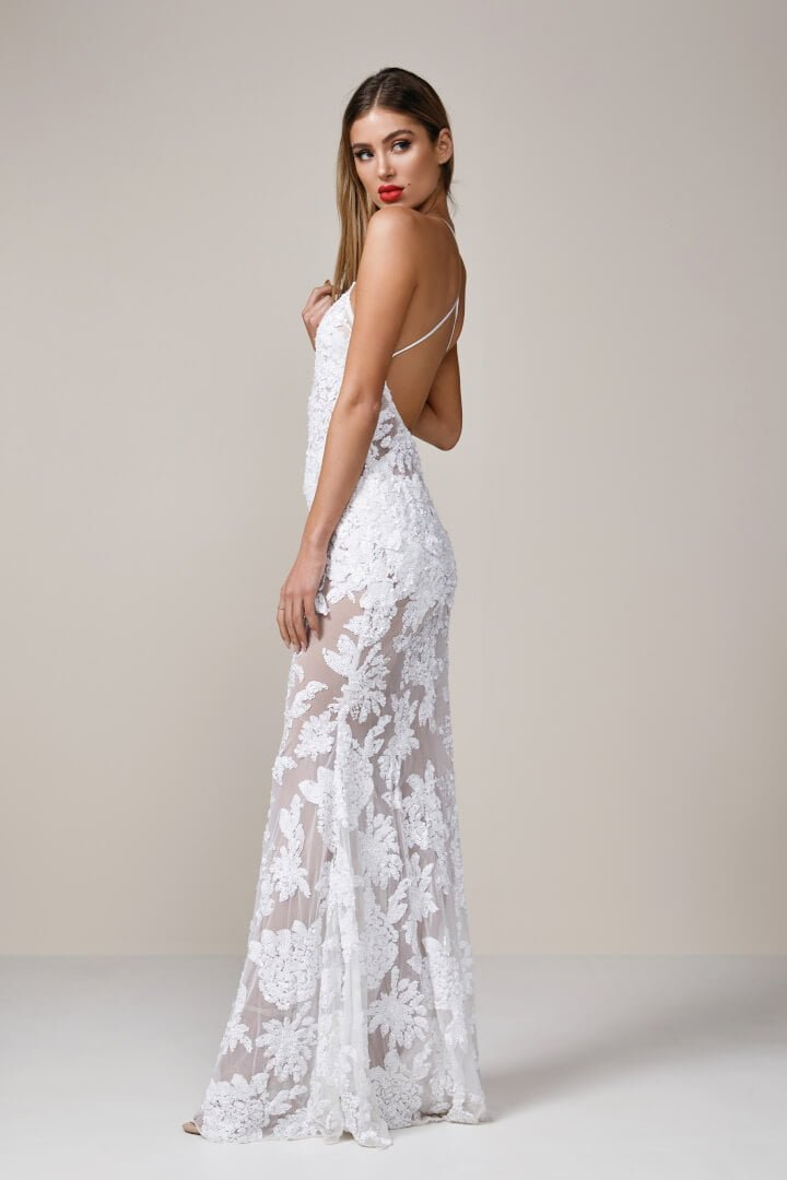 Ae\'lkemi - Backless Halter Gown - White - ONS Boutique