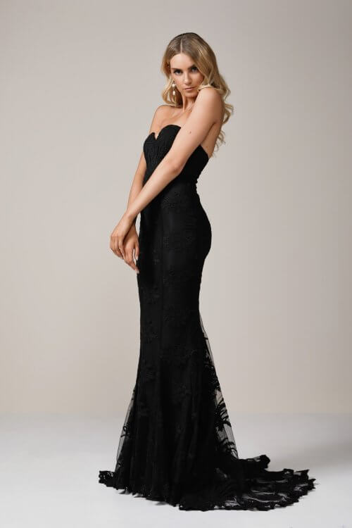 Elle Zeitoune Angelique Gown Floor Length, Strapless Black