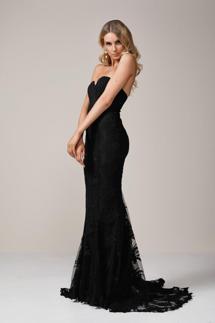 Elle Zeitoune Angelique Gown Floor Length, Strapless Black