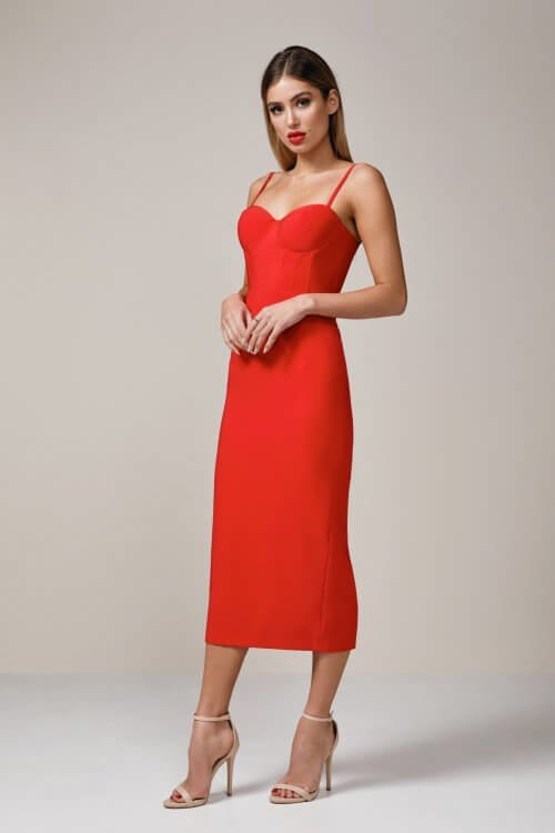 Elle Zeitoune Alannah Midi Knee Length, Midi, Strapless Red
