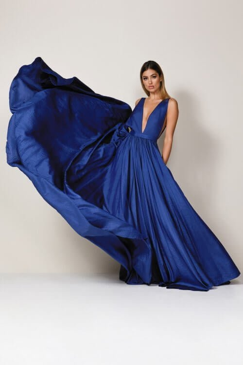 D'Lelle Afifee Gown Floor Length, V-Neck Navy