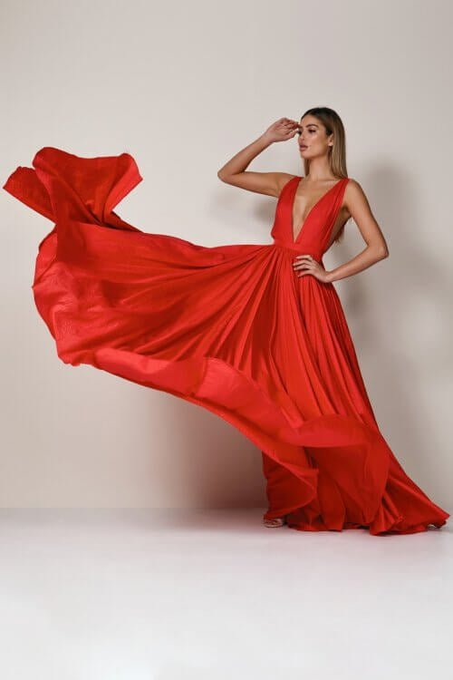 D'Lelle Afifee Gown Floor Length, V-Neck Red