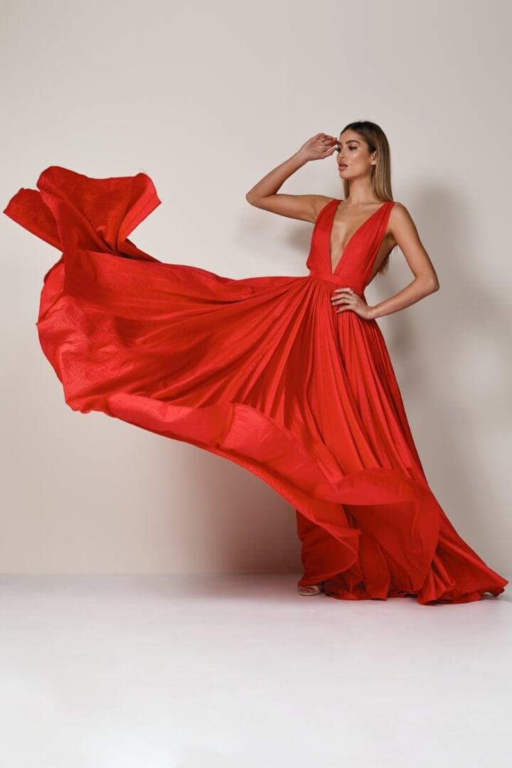 D'Lelle Afifee Gown Floor Length, Maxi Red