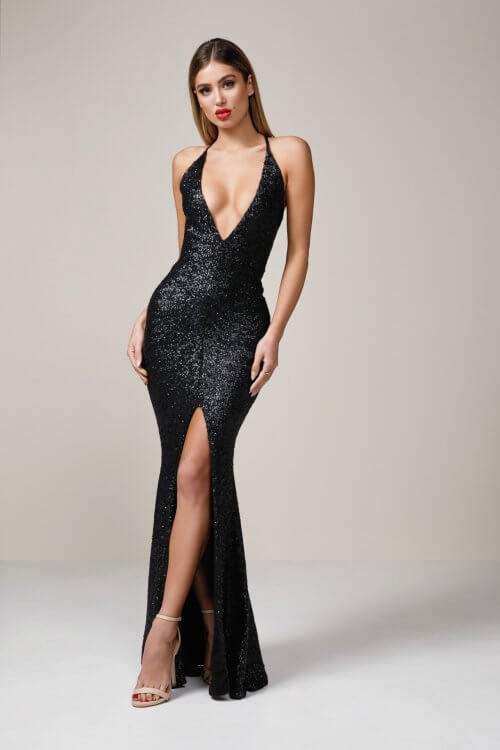 Nookie Dusk Til Gown Backless, Floor Length Black