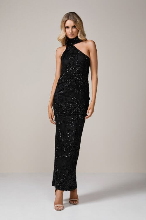 Elle Zeitoune Reese Sequin Gown Floor Length, Off-Shoulder Black