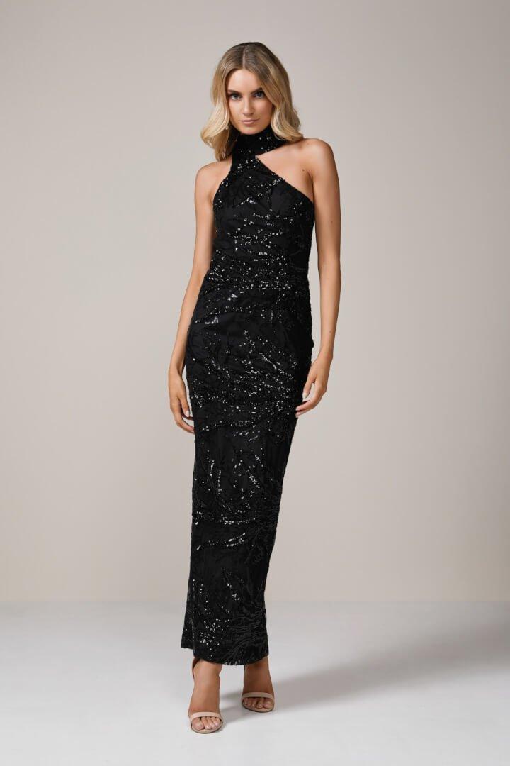 Elle Zeitoune Reese Sequin Gown Floor Length, Off-Shoulder Black