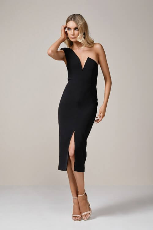 Elle Zeitoune Janine Dress Knee Length, Midi, Off-Shoulder Black