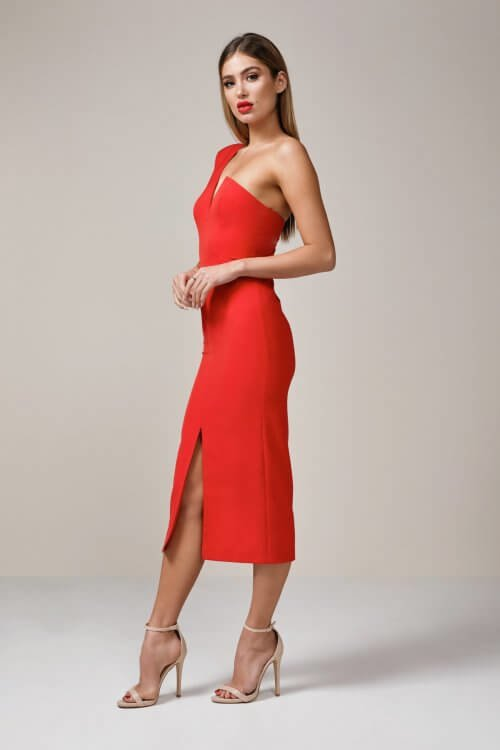 Elle Zeitoune Janine Dress Knee Length, Midi, Off-Shoulder Red