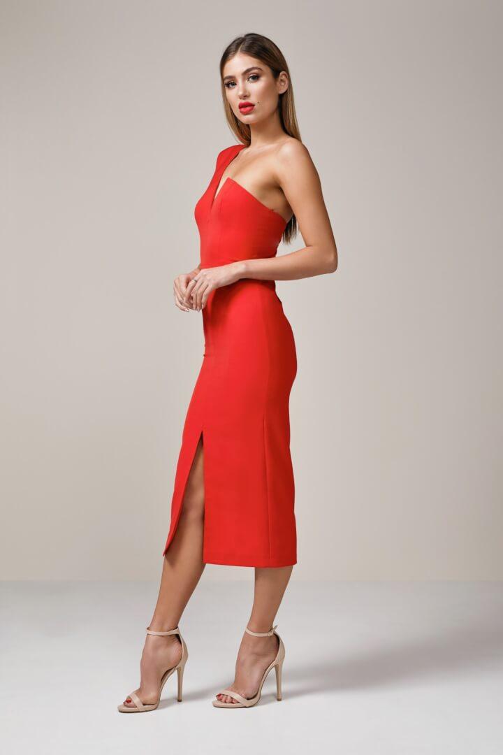 Elle Zeitoune Janine Dress Knee Length, Midi, Off-Shoulder Red