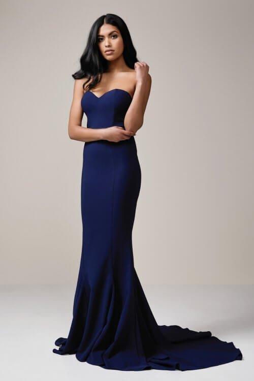 Elle Zeitoune Arianna Gown Floor Length, Maxi, Strapless Navy