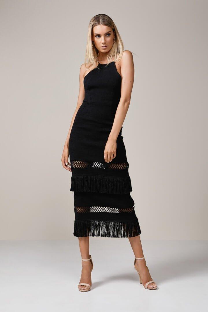 Talulah Layers Midi Dress Knee Length, Maxi, Midi Black