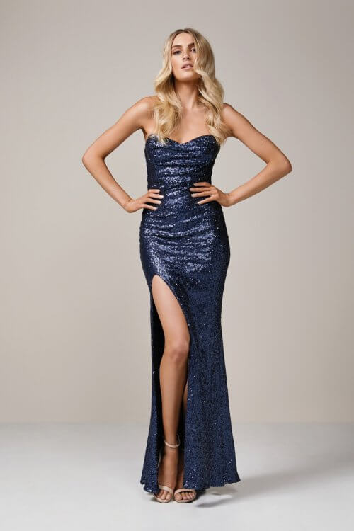 Nookie Valentina Gown Floor Length, Strapless Navy