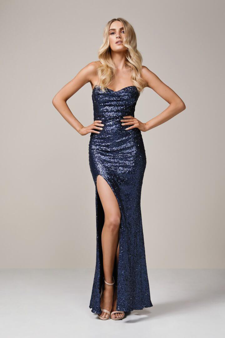 Nookie Valentina Gown Floor Length, Maxi, Strapless Navy