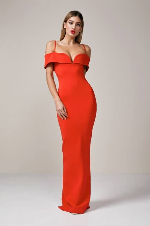 Nookie Pretty Woman Gown Floor Length, Off-Shoulder Red