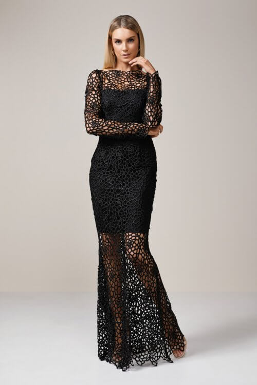 Grace & Heart Scandal Long Sleeve Lace Gown Floor Length, Long-Sleeve, Maxi Black