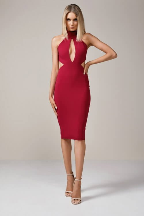 Nookie Wicked Games Midi Backless, Knee Length, Midi Ruby