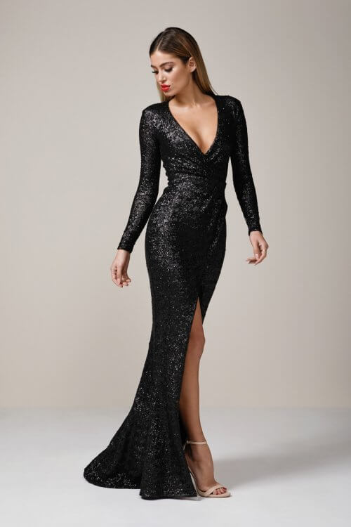Nookie Cannes Gown Floor Length, Long-Sleeve, Maxi, V-Neck Black