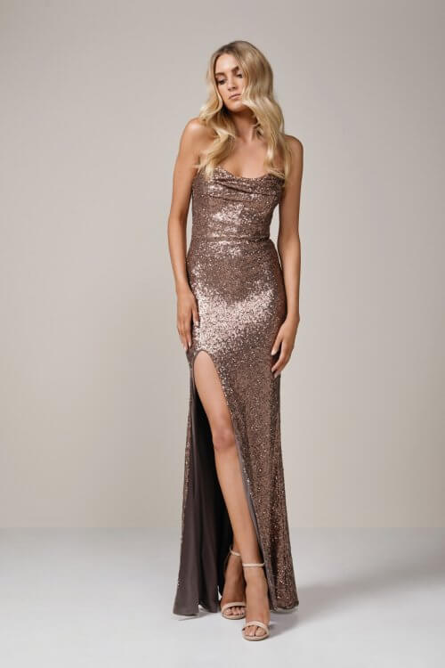 Nookie Valentina Gown Floor Length, Strapless Bronze