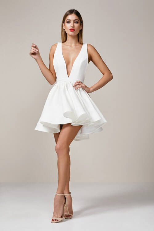 D'Lelle Take The Plunge Mini Backless, Mini, V-Neck Ivory