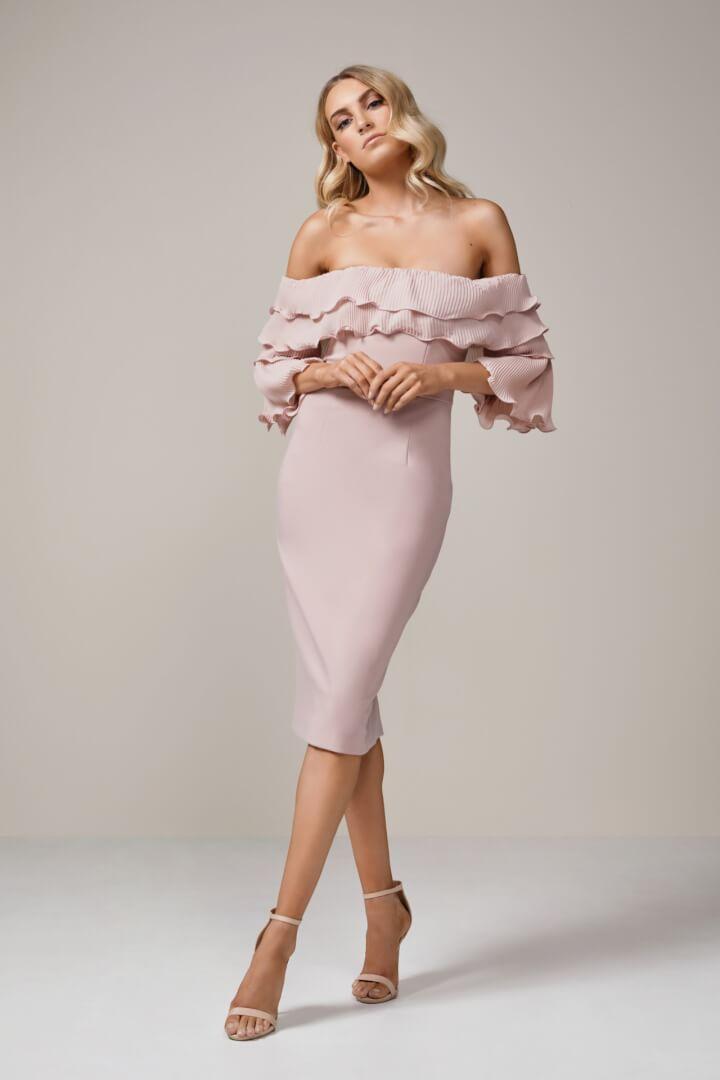 Talulah Walk On By Off Shoulder Midi Knee Length, Midi, Off-Shoulder Pink