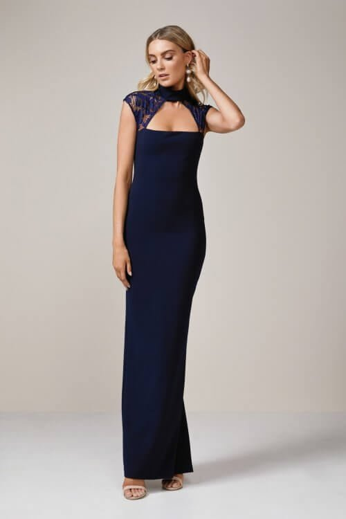 Nookie Lady Lace Gown Floor Length Navy