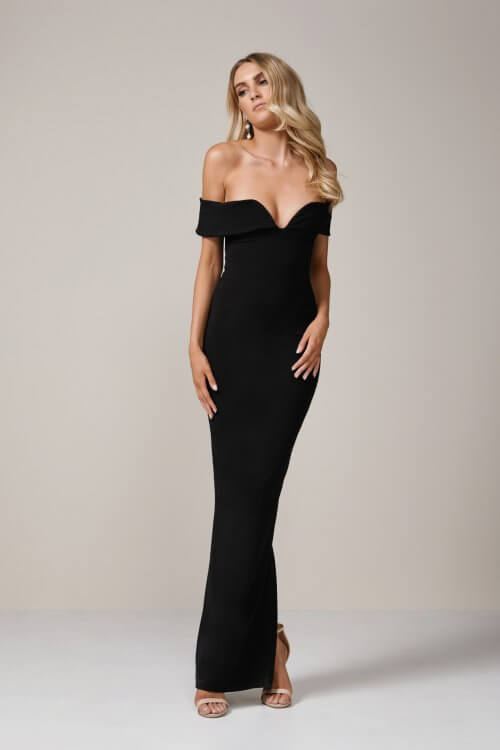 Nookie Pretty Woman Gown Floor Length, Maxi, Off-Shoulder Black