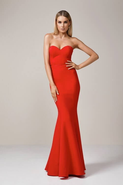 Elle Zeitoune Mina Gown Floor Length, Strapless Red