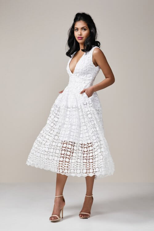 Nicholas Mosaic Ball Dress Knee Length, Midi, V-Neck White