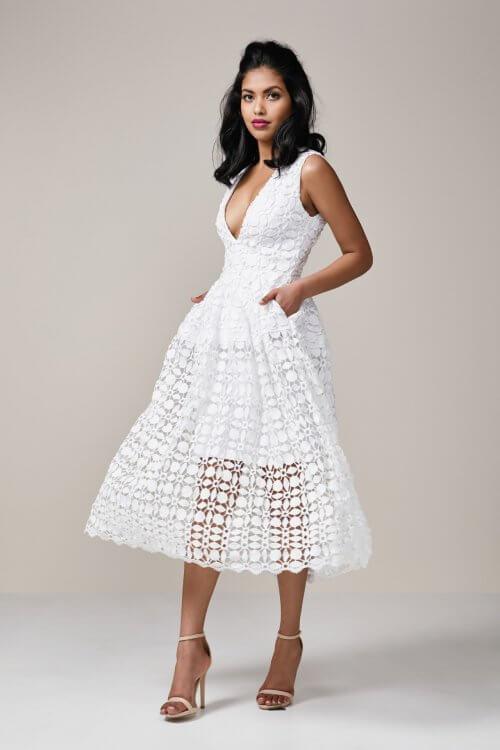 Nicholas Mosaic Ball Dress Knee Length, Midi, V-Neck White