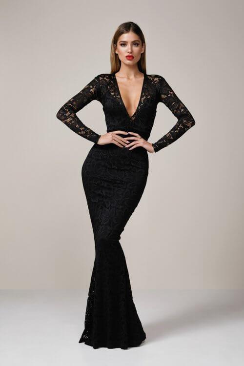 Nookie Mystique Gown Floor Length, Long-Sleeve, Maxi, V-Neck Black