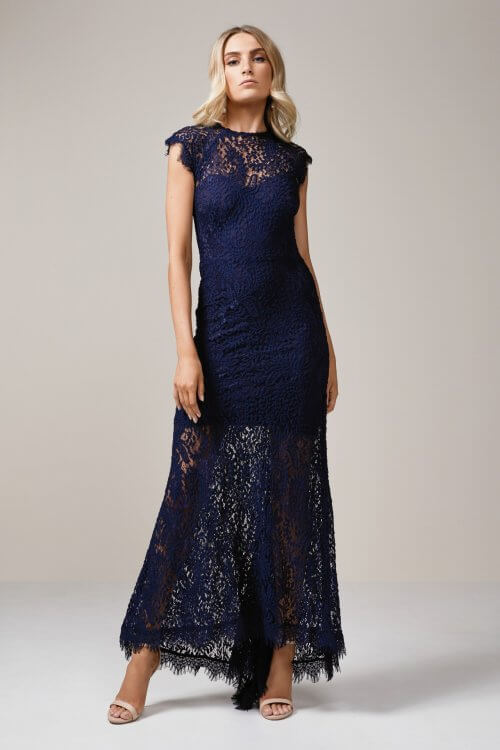 Elle Zeitoune Demi Gown Floor Length Navy