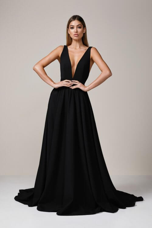 D'Lelle Take The Plunge Gown With Train Backless, Floor Length, Maxi, V-Neck Black