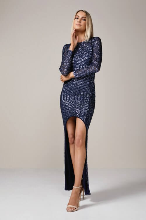 Nookie Starstruck Gown Backless, Floor Length, Long-Sleeve Navy