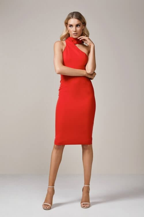 Elle Zeitoune Harper Dress Knee Length, Midi Red