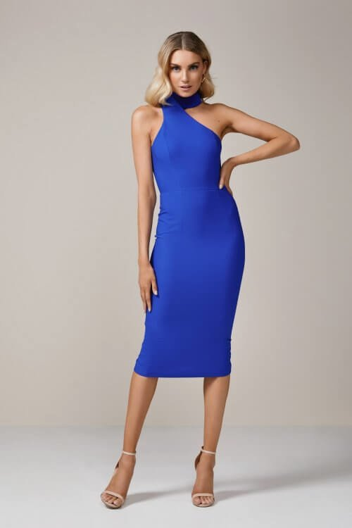 Elle Zeitoune Harper Dress Knee Length, Midi Blue