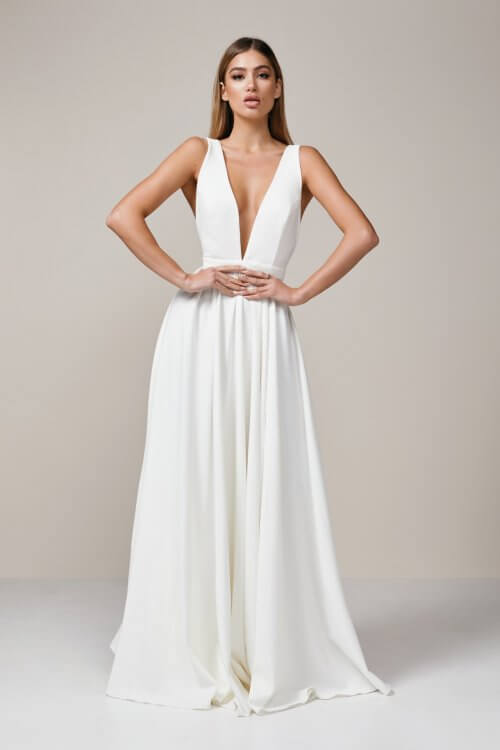 D'Lelle Take The Plunge Gown With Train Backless, Floor Length, V-Neck Ivory
