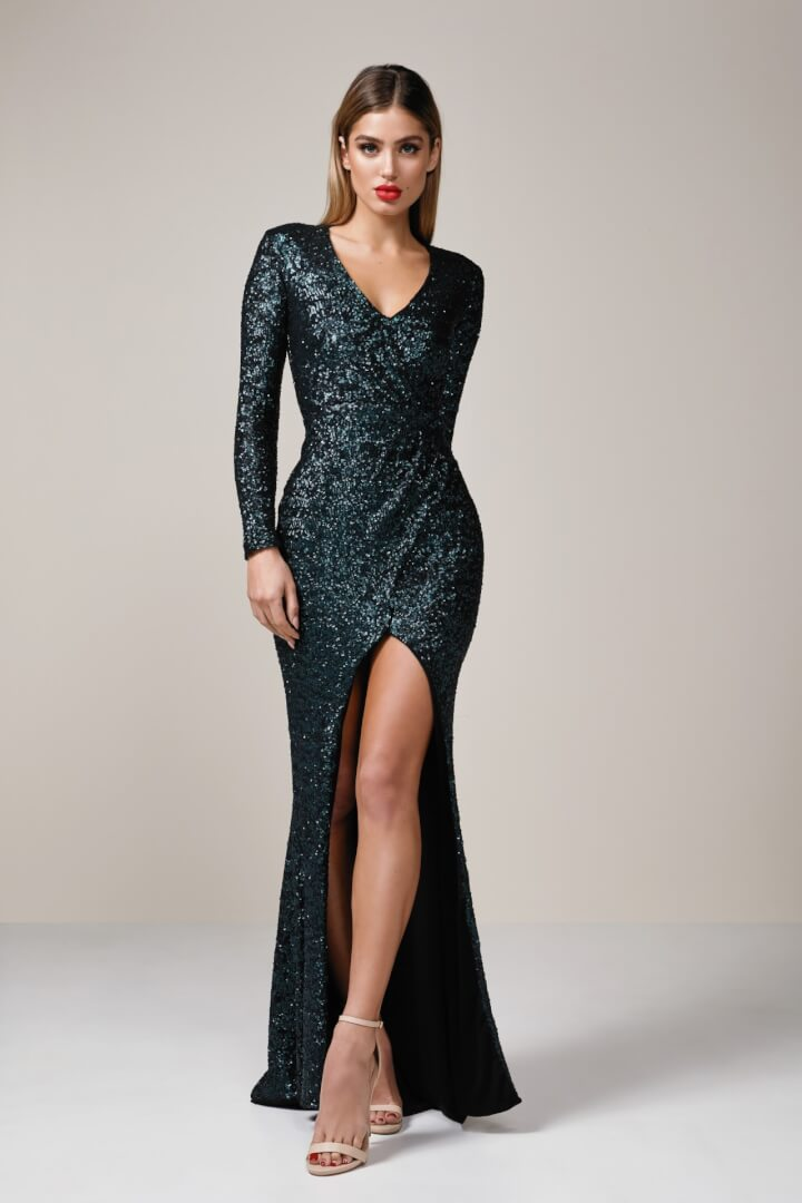 Nookie Cannes Gown Floor Length, Long-Sleeve, V-Neck Green