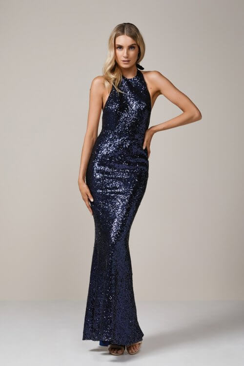 Elle Zeitoune Danny Gown Backless, Floor Length Navy
