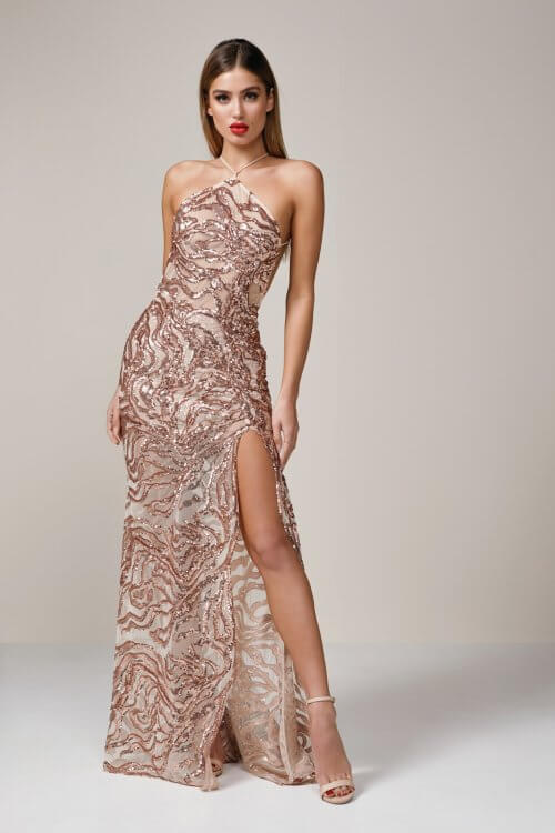 Ae'lkemi Tiger Gown Backless, Floor Length Rose Gold