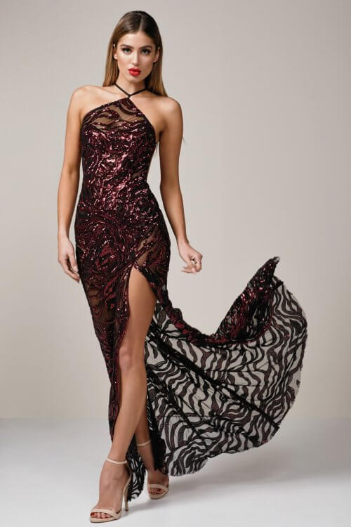 Ae'lkemi Tiger Gown Backless, Floor Length, Maxi Red