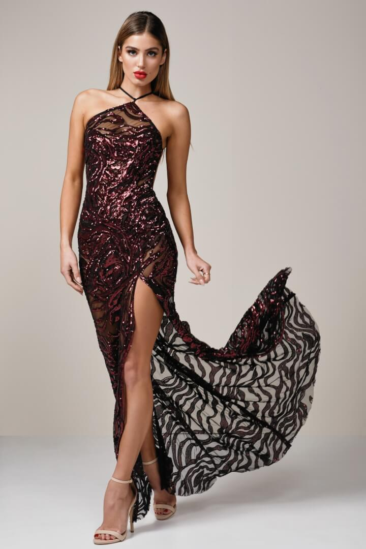 Ae'lkemi Tiger Gown Backless, Floor Length Red