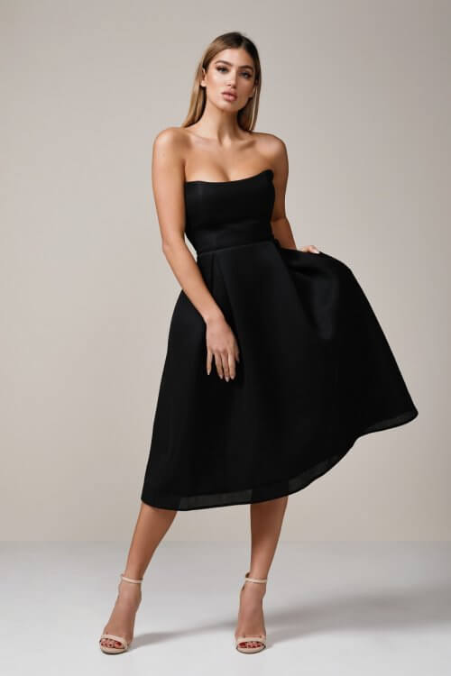 Nicholas Mesh Ball Dress Knee Length, Midi, Strapless Black