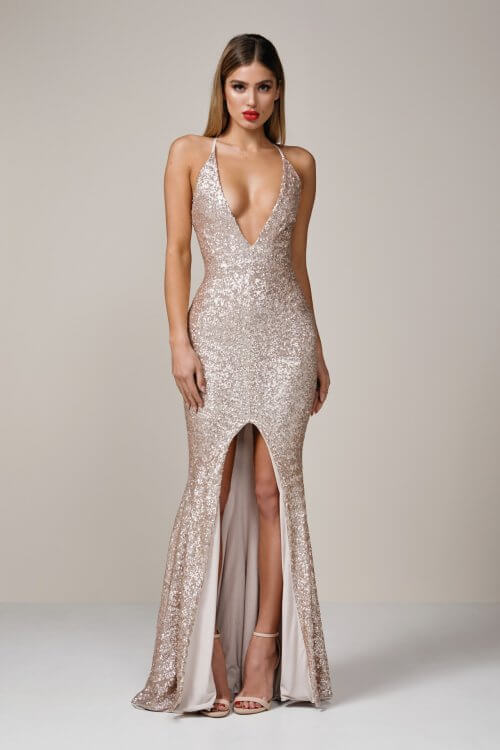 Nookie Dusk Til Gown Backless, Floor Length Gold