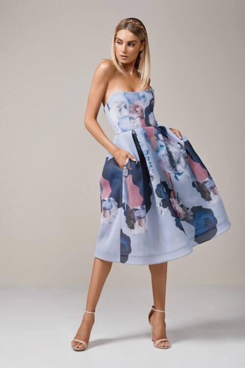 Nicholas Mesh Ball Dress Knee Length, Midi, Strapless Print