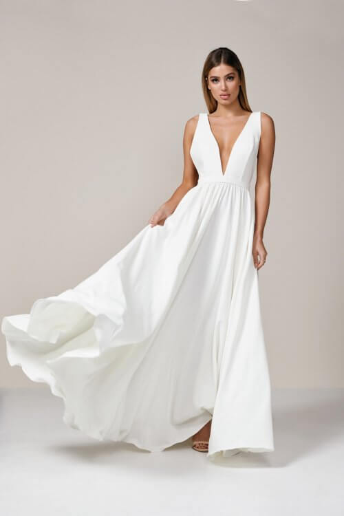 D'Lelle Take The Plunge Ball Gown NO TRAIN Backless, Floor Length, Maxi, V-Neck Ivory