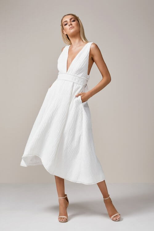 Talulah Take Me Out Midi Flare Dress Backless, Knee Length, Midi, V-Neck Ivory